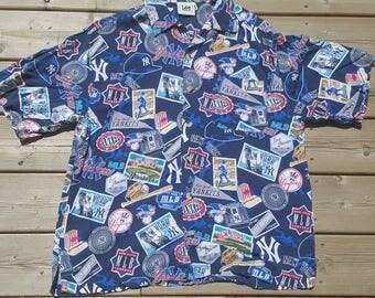 Lee Sport New York Yankees Short Sleeve Button Up Shirt Vintage MLB World Series