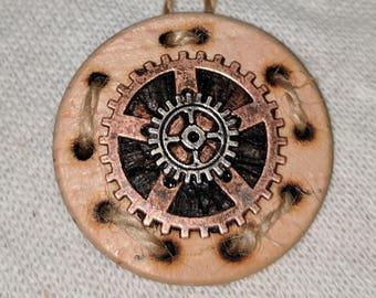 Gear Steampunk Necklace, Handmade Necklace, Wooden Pendant, Brass Gears, Steampunk Jewelry Necklace, Steampunk Necklaces, Gear Necklace