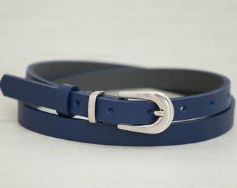 Leather Belt, Blue Leather Belt, Blue Womens Belt, Skinny Belt, Thin Belt, Dress Belt