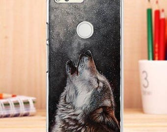 WOLF case for Google Pixel Case, moon case, Google Pixel XL case, night sky case for google pixel clear wolf case for google pixel, sky case