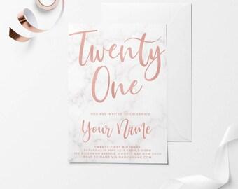 Rose Gold Printable Birthday Invitation, Custom Printable Invitation, 30th Birthday, 21st Birthday, 18th Birthday, DIY Birthday Invitation