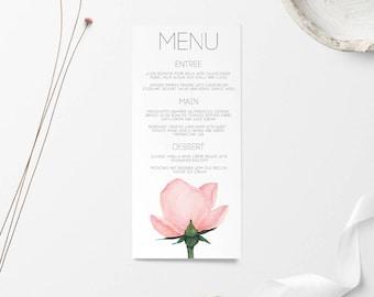 Wedding Menu, Wedding Menus, Wedding Menu Card, Menu, Wedding Signage, Wedding Sign, Printable Wedding Menu, Printable Menu, Rose Wedding