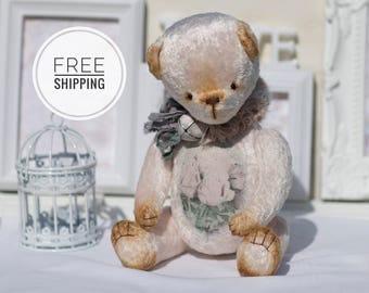 Pink bear teddy Artist teddy bear Gift for woman Push toy bear Collection bear Plush teddy bear ooak Pink toy Artist teddy Bear with flowers