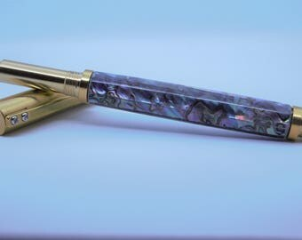 "Brass ""Raw"" Rollerball pen in Abalone"