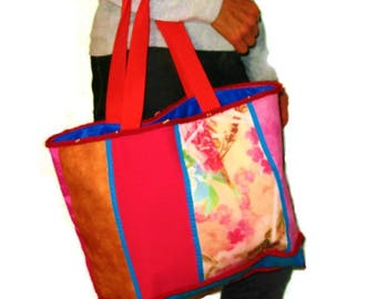 Large tote bag, Tote, bag, bag for purchase for shabby, pink, blue, wool, beads, woman, girl.