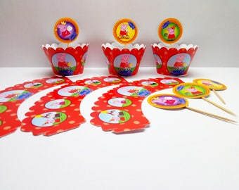 Peppa Pig Cupcake holders 6 pcs. Cupcake holders for children's holiday. Set for children's party or birthday. Peppa Pig party.