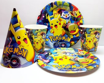 Pokemon paper tableware. Paper plates, cups and party hats. Pokemon Set for children's holiday,party or birthday. Pokemon Pikachu party.