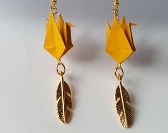 Mustard yellow crane origami earrings