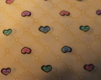 19 Sweet vintage yellow with colorful hearts Cotton