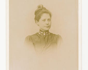Gorgeous Woman with Intricate Necklace and Updo 1800s Cabinet Card