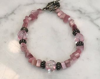 Pink Stone Toggle Clasp Beaded Bracelet