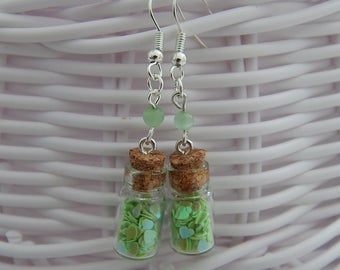 EARRINGS GLASS JARS WITH LIME GREEN HEARTS