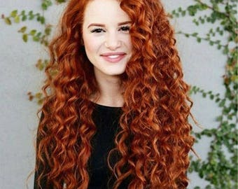 100% Virgin Remy Human Hair Red Copper Ginger Lace Front Wig preplucked with baby hair and bleached knots 24inches(in photo)