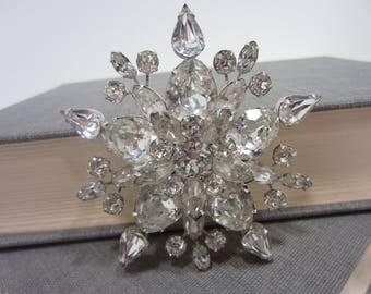 Stunning Eisenberg Ice Rhinestone Star/Snowflake Brooch