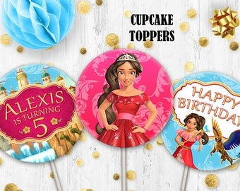 Elena of Avalor Cupcake toppers Cake toppers Princess Elena toppers
