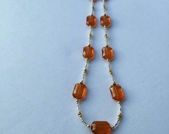 Orange chunky  bead necklace