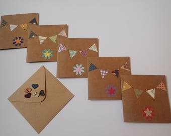 Handmade Notelets - Bunting Note Cards - Thank you Notelets - Party Invitation - Set of 5 Blank Notelets- Bunting Cards - Thank You Cards