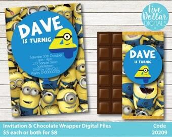 Minions Personalised Digital Birthday Invitation & Chocolate Candy Bar Wrapper Printable