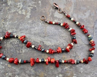 "NEW Viking inspired necklace 19.25"",one strand,red bamboo coral chips,copper lobster clasp and beads,fire polished beads,N085"