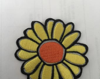 Yellow Petal Flower Embroidered Patch  Iron Or Sew