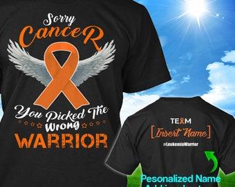 Personalized Leukemia Kidney Cancer Awareness Tshirt Orange Ribbon Warrior Support Survivor Custom T-shirt Unisex Women Youth Kids Tee