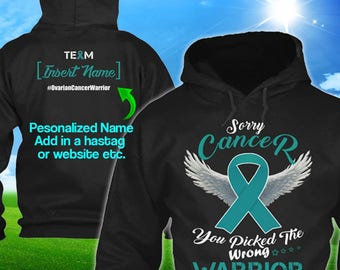 Personalized Ovarian Vulvar Cancer Awareness Hoodie Teal Ribbon Warrior Men Women Kid Youth Custom Unisex Pullover Support Gift Winter Cloth