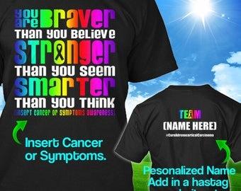 Personalized Adrenocortical Carcinoma Cancer Awareness T-Shirt Rainbow Ribbon Braver Survivor Custom Tshirt Apparel Unisex Women Youth Kid