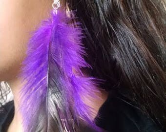 Purple Feather Hair Clip Extension Barrette