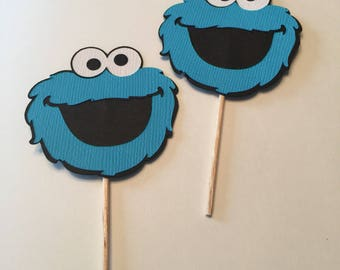 Set of 12 Cookie Monster cake toppers