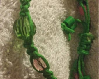 Green Hemp Cord Macrame Bracelet