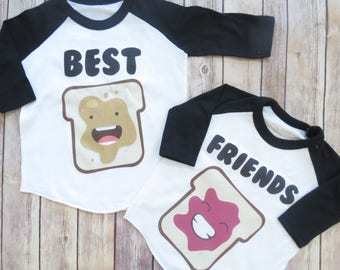 Best Friends Raglans- Toddler Clothing, Peanut Butter and Jelly, Bffs, Besties SET OF 2