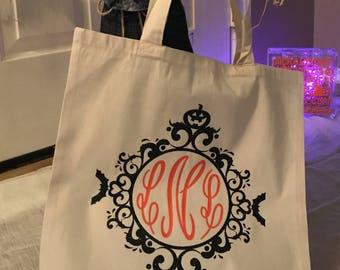 Halloween Tote - Monogram Halloween Tote Bags - Halloween Bags - Halloween Totes- Halloween Bags Canvas - Pumpkin Tote bag