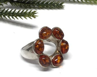 Open Circle Amber Sterling Silver Ring Size 7
