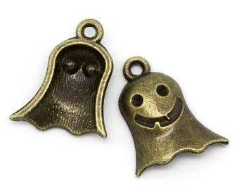 SET of 10 charms bronze ghost Halloween Witch (R14)