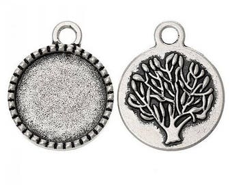 SET of 5 medium round cabochon pendant 14mm tree color Silver (E67)