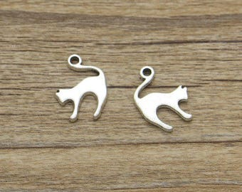 set of 3 cat (B78) silver cat charms