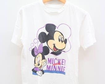 Vintage MICKEY AND MINNIE Disney Cartoon Animation White Tee T Shirt