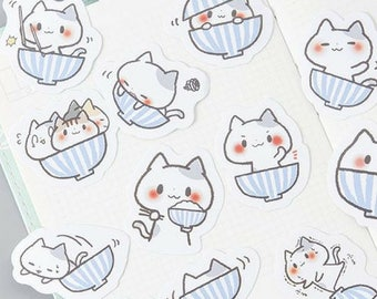 45 Pc Pk Playful Cat in a Bowl Mini Stickers ~ Cute Stickers, Kawaii Cartoon Stickers, Stationery, Scrapbooking, Planner Decorative, Gift