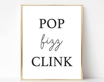 Printable Pop Fizz Clink Event Sign   Bubbly Bar Event Sign   Bridal Shower Sign   Black and Gold Party Decor   Stripe Bridal Shower Sign