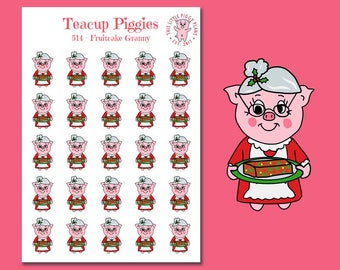 Teacup Piggies - Fruitcake Granny - Mini Planner Stickers - Christmas Stickers - Fruitcake - Holiday Baking - Holiday Treats - [514]