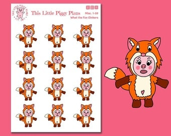 What the Fox Oinkers - Fox Planner Stickers - Pig Stickers - Planner Stickers - This Little Piggy - Animal Stickers - Fox- Pig- [Misc. 1-59]