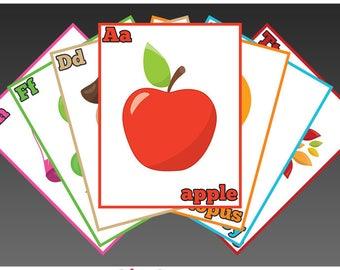 Alphabet Flash Cards (Full Page) Instant Download PDF; Preschool, Kindergarten, School