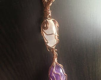 Clear quartz amethyst necklace