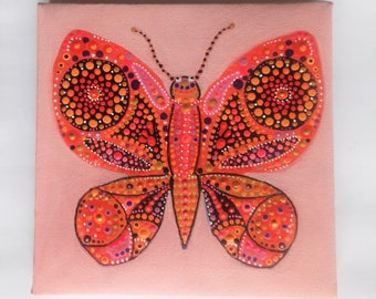 Pink, Butterfly , original painting, Ready to hang, Canvas wall art, unique artwork, nature painting , birthday gift, Mothers Day,