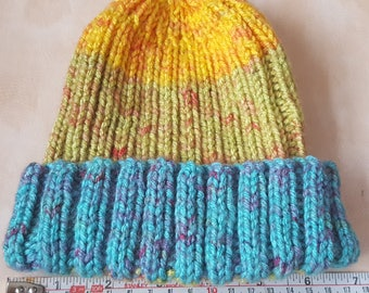 Teenager/Adult's Beanie hat, Designed, Hand knitted, Turquoise/Green/Orange & Red, Chunky mixed fibre yarn, Handmade, Gift, Treat, Walks.
