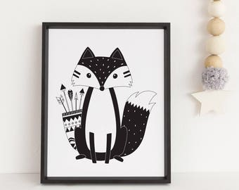 Tribal Fox print Nursery wall art Woodland print Fox print Monochrome print Woodland fox Nursery print Black and white print Nursery decor