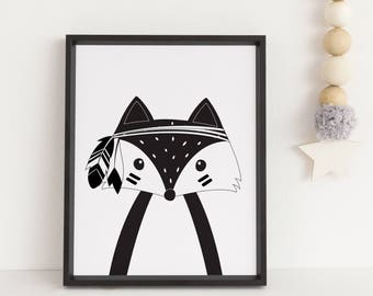 Fox print, Tribal print, Tribal fox print, Woodland fox, Kids print, Monochrome print, Black and white print, Tribal wall art Playroom print