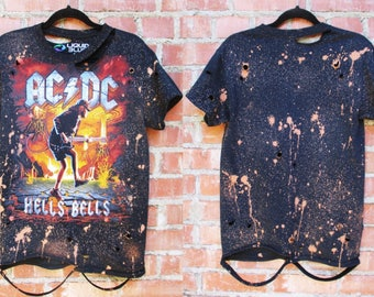 Mens AC/DC bleached distressed shirts S-XL band tee