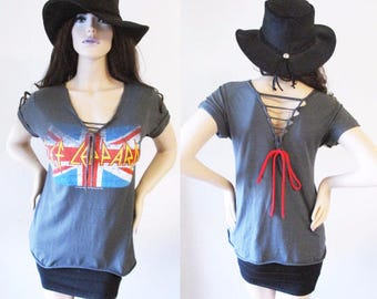 Def Leppard V neck cut out back shirts S-XL band tee