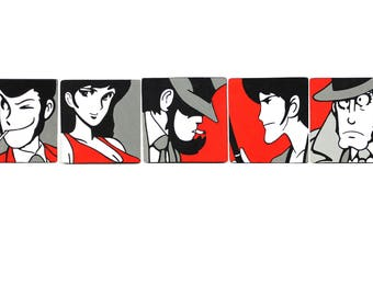 Set of 5 magnets from Mini-Series Lupin-handpainted wooden